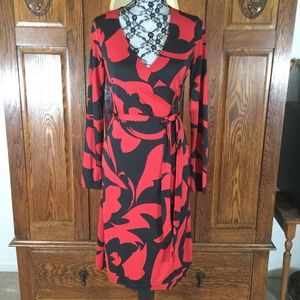 The Limited Red & Black Abstract Print Wrap Dress